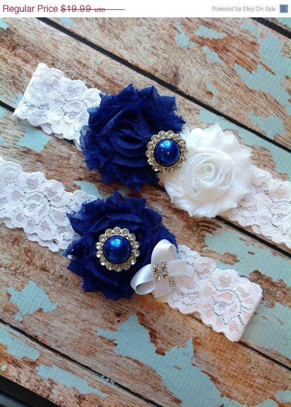 SALELook ROYAL BLUE wedding garter set / by FallenStarCoutureInc