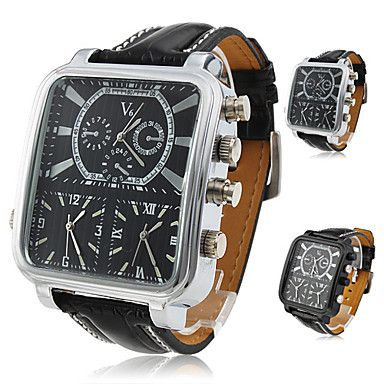 Argus Panoptes - Men's Triple-Movement Square Dial Leather Band Quartz Analog Wrist Watch (Assorted Colors) – USD $ 11.99