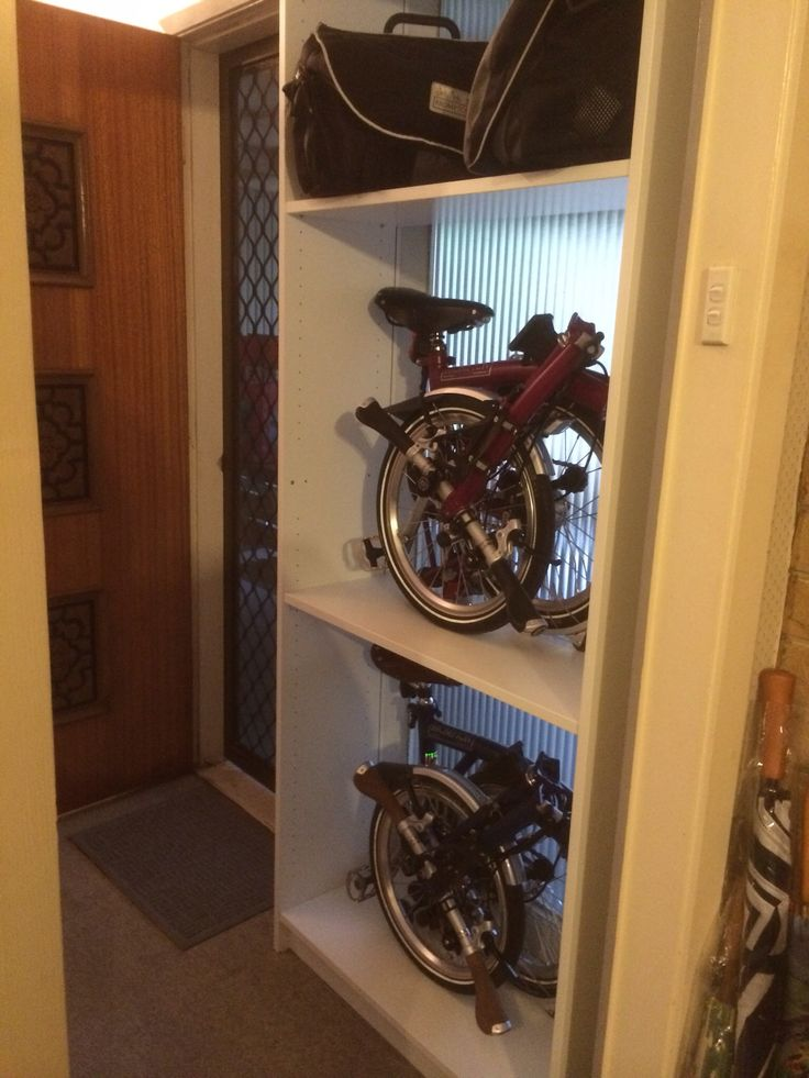Brompton storage at service yard. 3 shelves, 2 for bikes, 1 for bags and related items (servicing equipment etc)