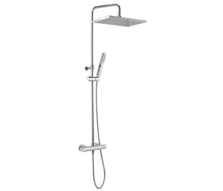 Combinado de ducha modelo Nix con rociador cuadrado, combinado con grifería monomando Grohe Star