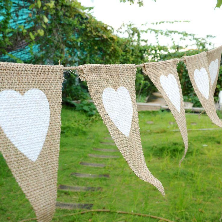 13pcs Party Linen Heart Pennant Flag Banner Wedding Church Xmas Decor Event Supplies Burlap Lace Raw Jute DIY Home Decoration