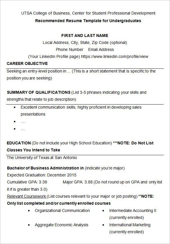 For College Students 3-Resume Templates Student resume template