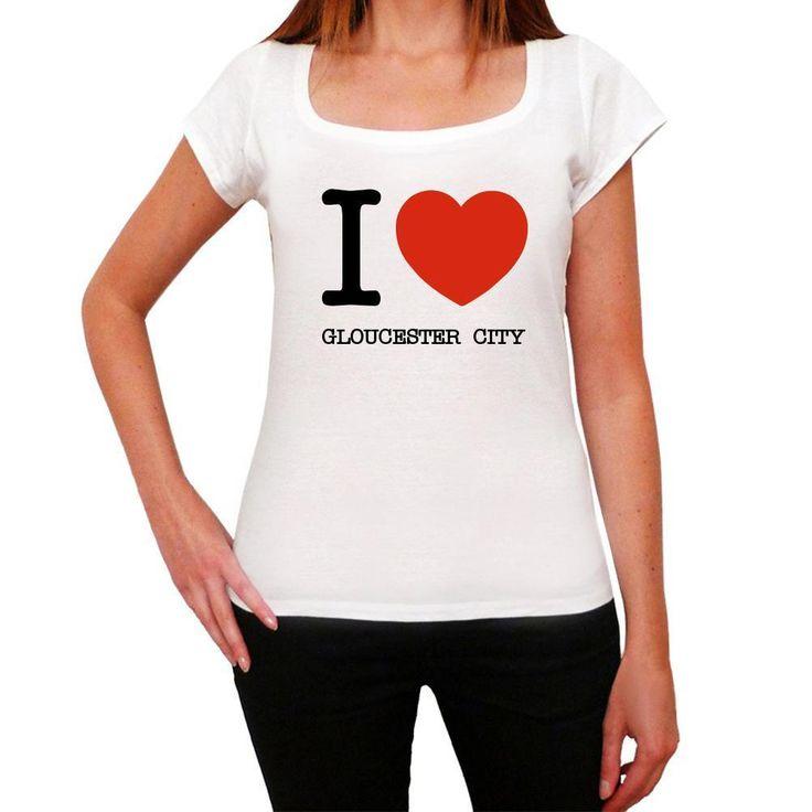 GLOUCESTER CITY, I Love City's, White, Women's Short Sleeve Rounded Neck T-shirt