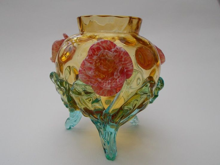 Victorian Bohemian Stourbridge Honeycomb Glass Vase Applied Roses Harrach c.1880 | eBay