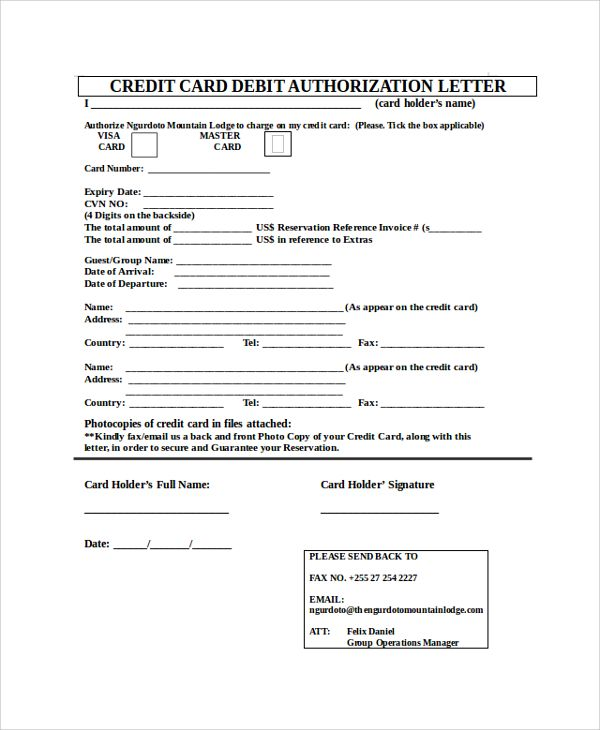 sample credit card authorization letter documents pdf word for - reservation letter