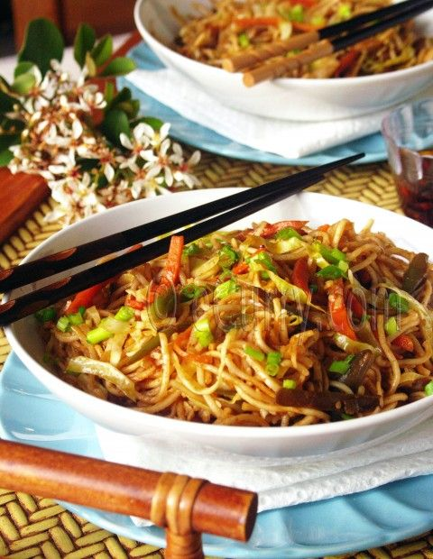 Hakka Noodles - A popular Indian Chinese dish that would be welcome at our house!