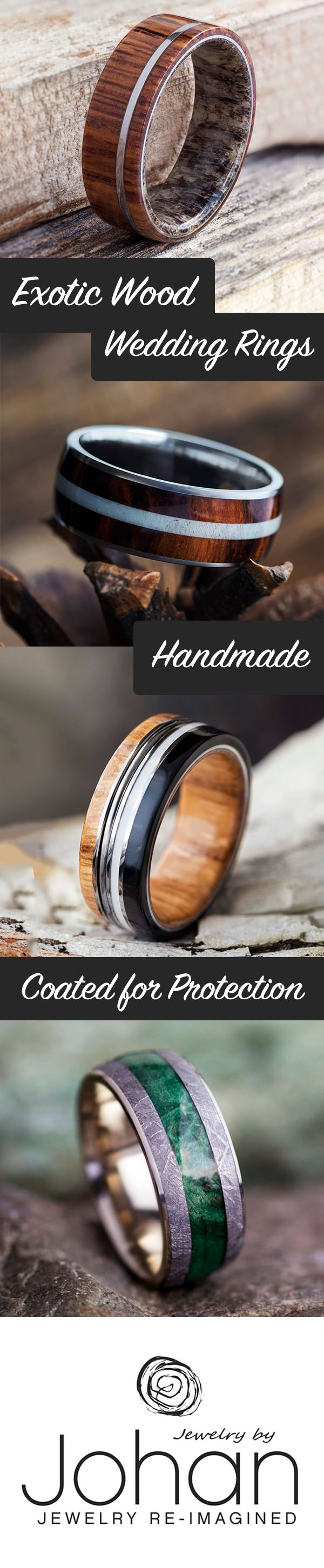 Give your wedding band a natural touch with over 100 exotic woods to choose from! Pair with other unique materials like deer antler, meteorite or dinosaur bone.