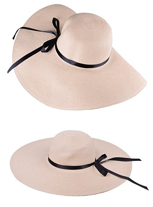 04e0d11a143 Beige Women Straw Hat Big Sun Hats Decorated with Black Ribbon Floppy  Sunhats