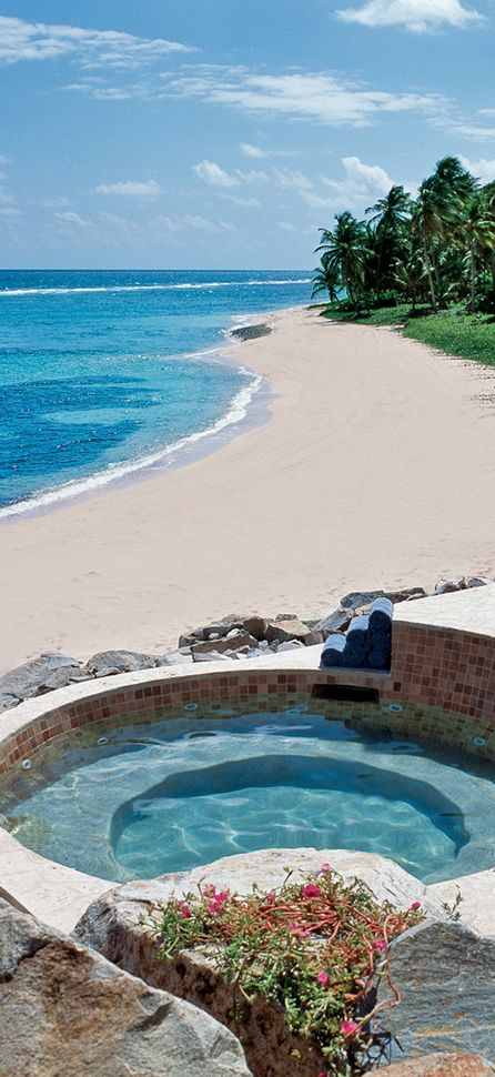 Private pool overlooking the beach at the Peter Island Resort and Spa in the British Virgin Islands.