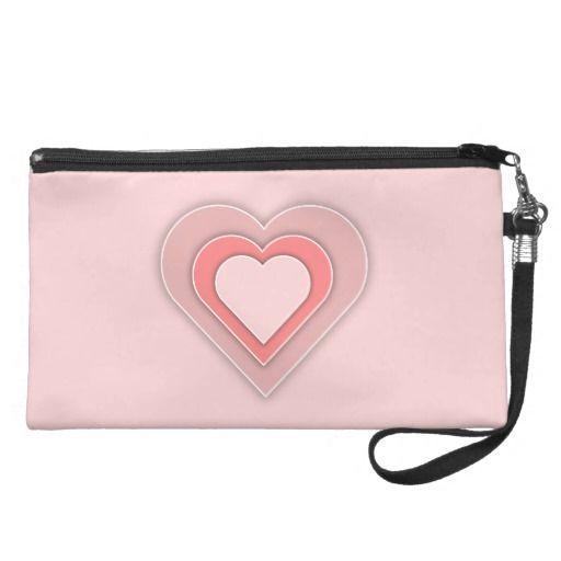 Triple Pink Hearts Wristlet - #theheartshoppe #windywinters #zazzle