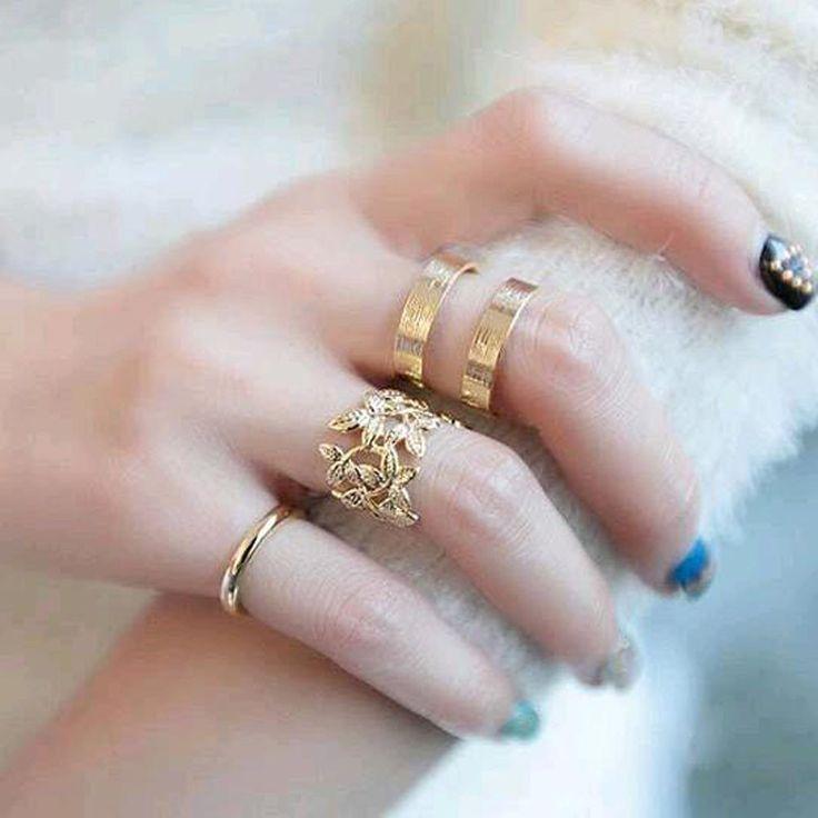 Organic Leaf Ring Set