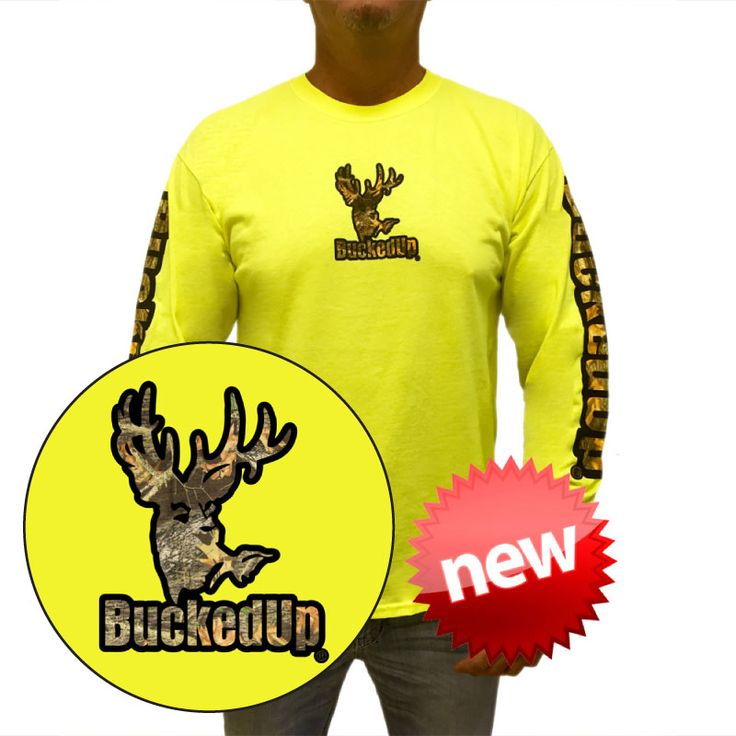 Bucked Up Logo Longsleeve-Safety Green/Black-Camo: Hunting Apparel | Hunting Clothes | Shirts | Stickers | Decals