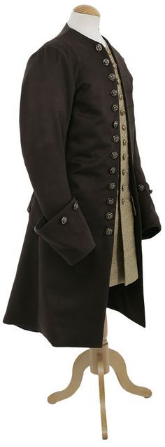 18th Century Gentlemans Frock Coat, wool, CT9001, long silk waistcoat available separately. Brass effect floral button used with this coat.