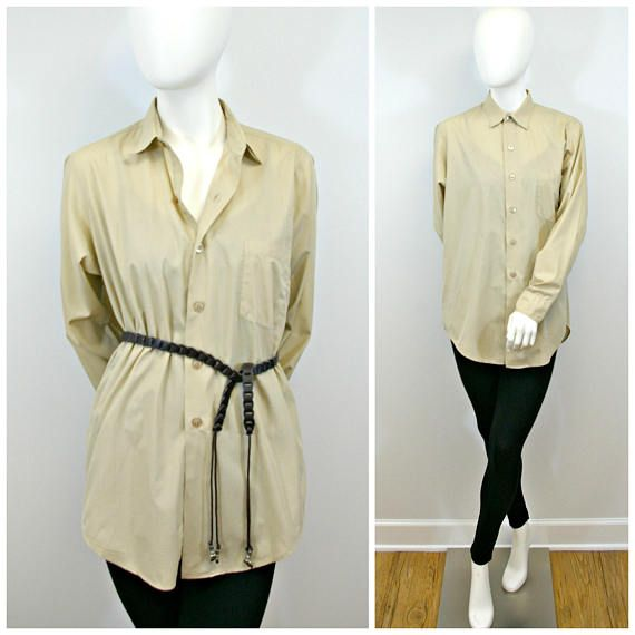 Vintage Tan Shirt, 70s Army Issue Tan Khaki Shirt, Long Sleeve Light Weight Button Front Collared Shirt, Mens Tan Army Light Weight Oxford  A great staple piece! I love to take mens clothes and style them for myself. This is one of those perfect pieces to do that with. -Tan khaki