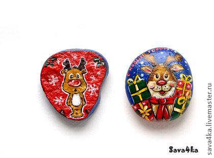 """Новый год 2014 ручной работы. Ярмарка Мастеров - ручная работа """"Олени Санта Клауса"""" камушки-магниты. Handmade."""