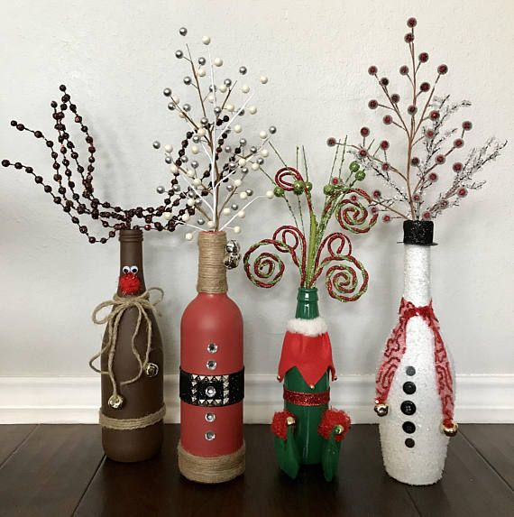 ***I am now taking pre-orders...please allow 1-2 weeks for shipping.*** $15 is for ONE vase: Santa, Rudolph, Elf, or Snowman bottle vases with decorative picks. Set of 3 includes: Santa, Rudolph, and Snowman. Set of 4 includes: Santa, Rudolph, Snowman, and Elf. Disclaimer: Bottle sizes and picks may vary. Elves are beer bottle size.