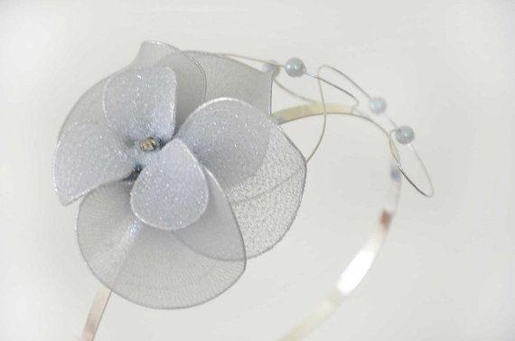 Silver fascinator headband Silver hairpiece Hair flower Silver headpiece Flower girl headband by #MyArtDeco