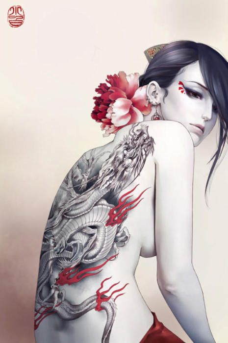 Girl with the dragon tattoo: Asian Style, Girls Tattoo, Zhangxiaobai, Back Tattoo, Tattoo Drawing, Japan Tattoo, Dragons Tattoo, Art Illustration, Zhang Xiaobai