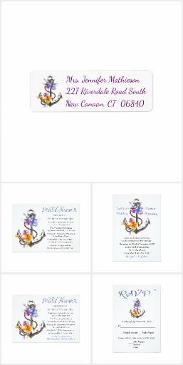 Anchors Ahoy Blue Nautical Wedding Invitation Set This anchors ahoy wedding invitation set is perfect for the sea loving couple. The set features a floral ship anchor with a rope and flowers in complementing shades of blue, purple, golden yellow, and pink. This fun nautical invitation set offers everything you need to plan the wedding of your dreams! Invitations, Bridal shower, stamps, thank you cards and stickers, address labels, rehearsal dinner and favor gift boxes.