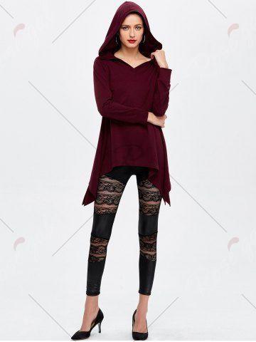 Hooded Asymmetric Longline T-Shirt - WINE RED M Mobile
