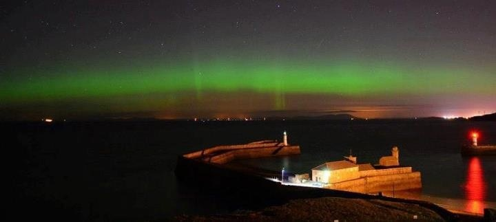 Picture of the Aurora looking out from Whitehaven in Cumbria UK. Wish I'd seen it, gutted that I could have seen the northern lights where I live