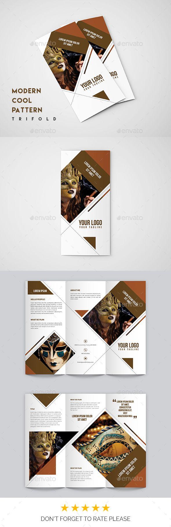 Morden Modern Cool Pattern Trifold Brochure Design Template- Catalogs Brochures Design Template PSD. Download here: https://graphicriver.net/item/morden-cool-pattern-trifold/19343345?ref=yinkira