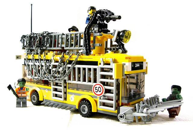 This guy takes standard Lego city sets and post-apocifies them. The results are awesome.