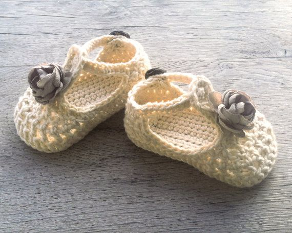 WILLOW Cream Beige Crochet T-strap Mary Jane Baby Shoes, Baby Girl Booties…