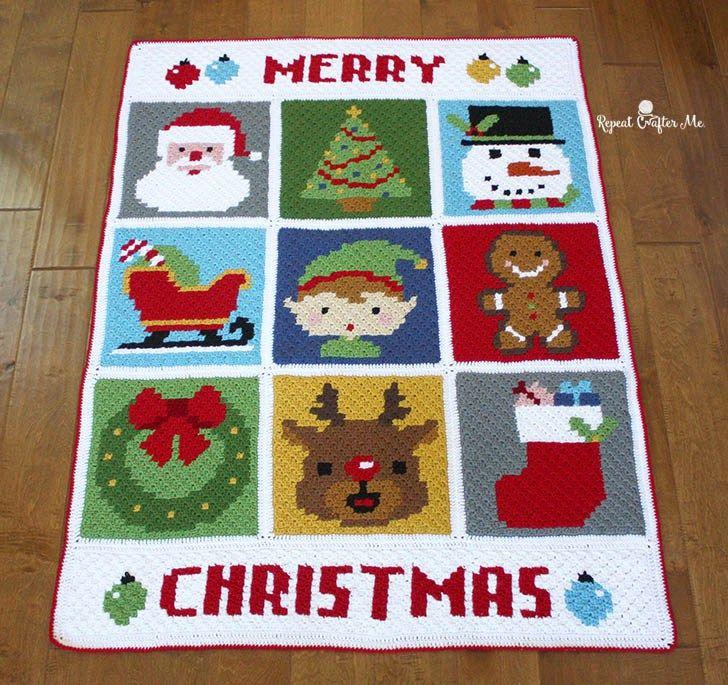 Crochet Christmas Character Afghan