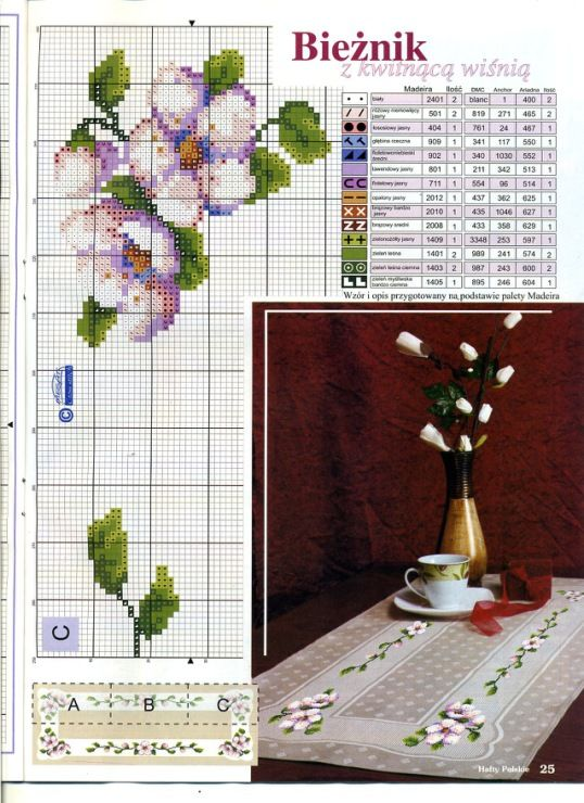 Cross-stitch Floral Tablerunner, part 1..  with the color chart...   Gallery.ru / Фото #5 - ***** - celita