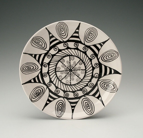 black and white zentangle plate