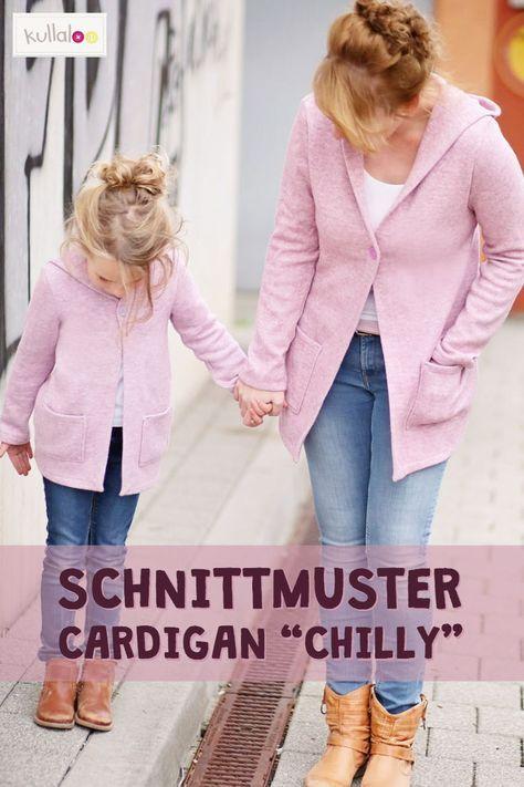 """Cardigan Schnittmuster """"CHILLY"""" für Damen und Kinder"""
