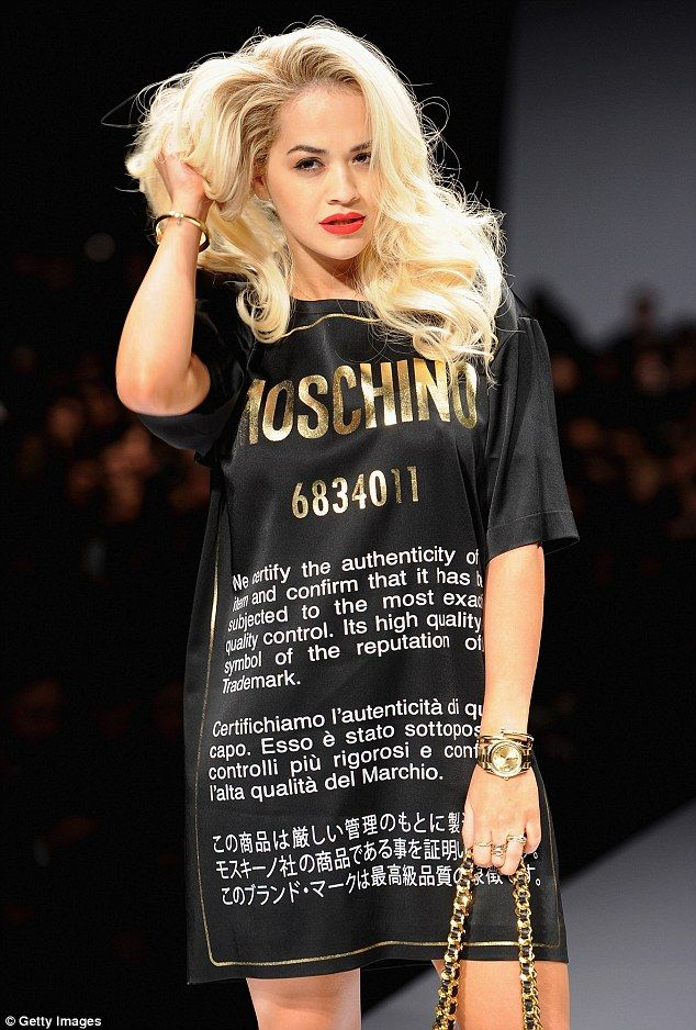 Rita Ora on the catwalk at the Moschino Autumn/Winter 2014 show at Milan Fashion Week