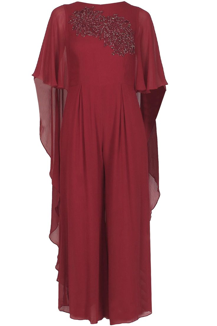 Samatvam by Anjali Bhaskar. Burgundy thread and cutdana embroidered cape jumpsuit available only at Pernia's Pop Up Shop.