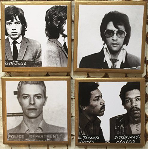 Coasters! Celebrity Mugshot coasters with gold trim. Jimi Hendrix, Elvis, Mick Jagger and David Bowie