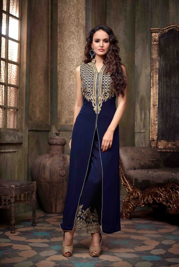 Blue Color Faux Georgette Fabric Embroidery Work Designer Straight Anarkali Suit