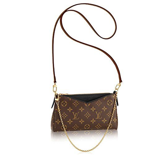 Authentic Louis Vuitton Monogram Canvas Pallas Clutch Handbag Noir - Made in France