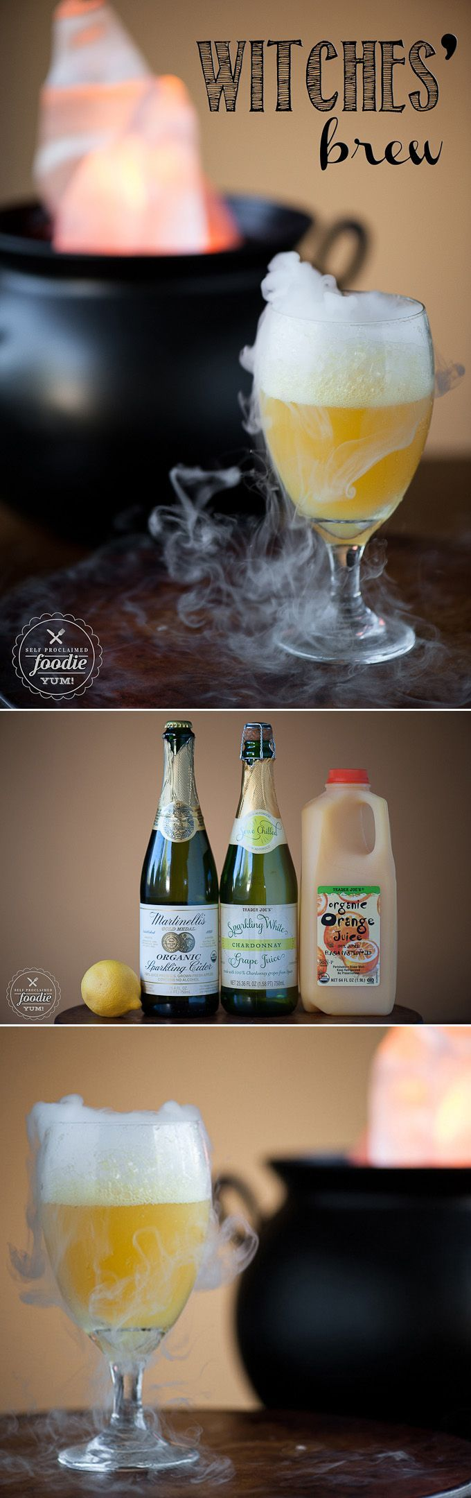 This sweet and sparkling Witches' Brew made with fruit juice is a fun Halloween party drink for all ages and can easily be made into an adult cocktail too. #happyhalloween