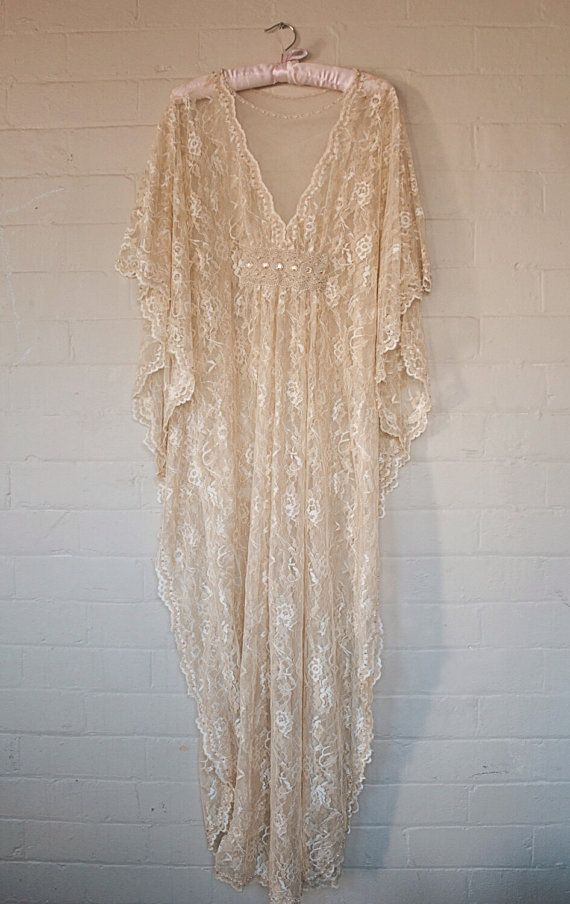 Vintage Lace Beaded Bridal Kaftan Dress 70s Gypsy by Fairtale