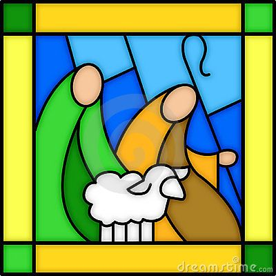 Shepherds in stained glass by Connie Larsen, via Dreamstime