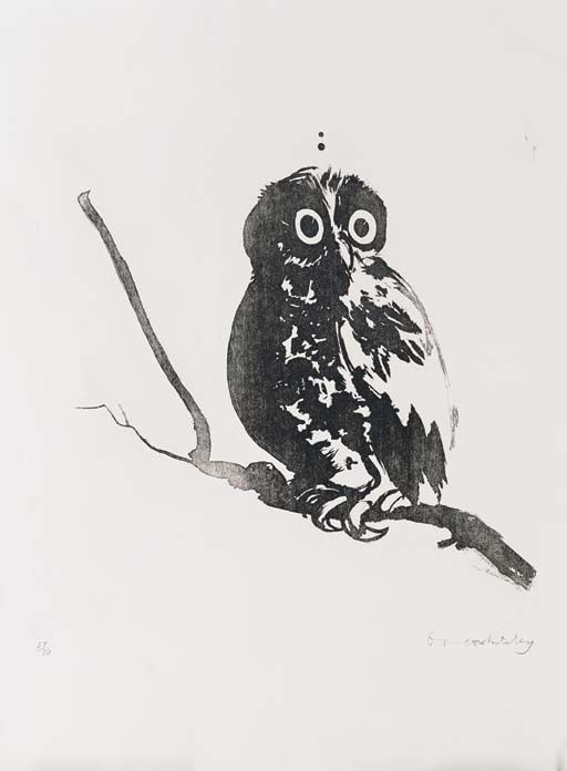 Brett Whiteley (1939-92) Australia  -  Startled Owl Aquatint, 76 x 56 cm