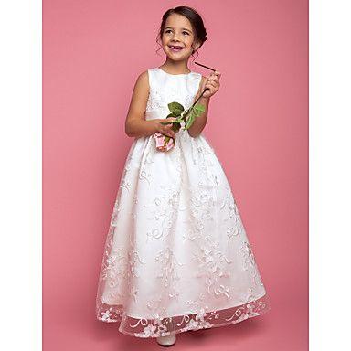 lanting bruid ® a-lijn / prinses vloer lengte bloem meisje jurk - kant mouwloze juweel met sjerp / lint – EUR € 117.59