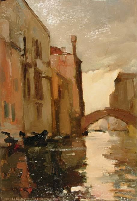John Singer Sargent (American, Impressionism, 1856–1925): Venetian Canal. Oil on wood, 13 x 8-1/2 inches (33.02 x 21.59 cm).