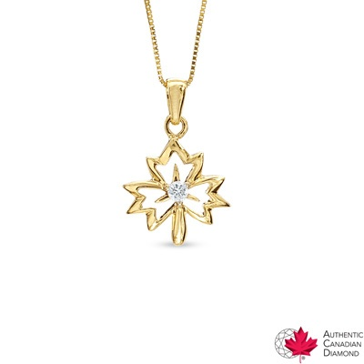 0.05 CT. Certified Canadian Diamond Maple Leaf Pendant in 14K Gold