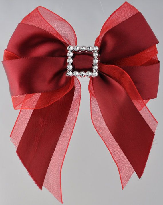 Red Silk and Organza Hair Bow by glitznglamgirlzz on Etsy, $9.00
