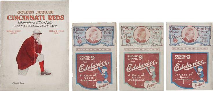 Baseball Collectibles:Programs, 1919 World Series Games Two through Five Programs (Chicago...