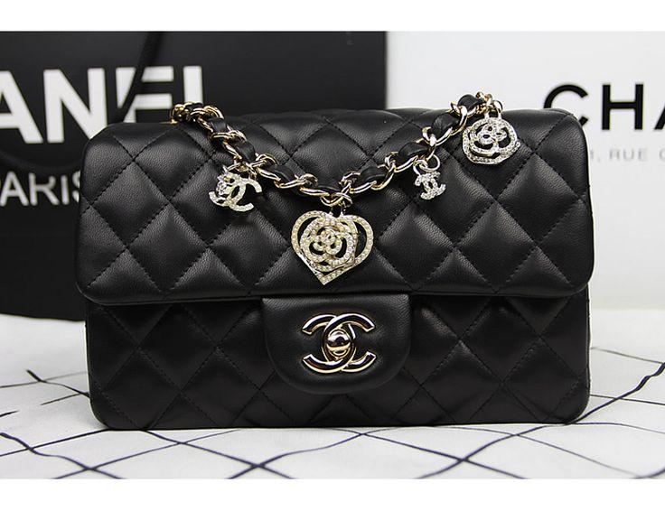 Premium-Kostenlose Exchanges Billig Preis CC Chanel 2014 Valentinstag limitierte Original-Lammfell-Schwarz-Leder-Tasche A38521 Goldkette IQ40606