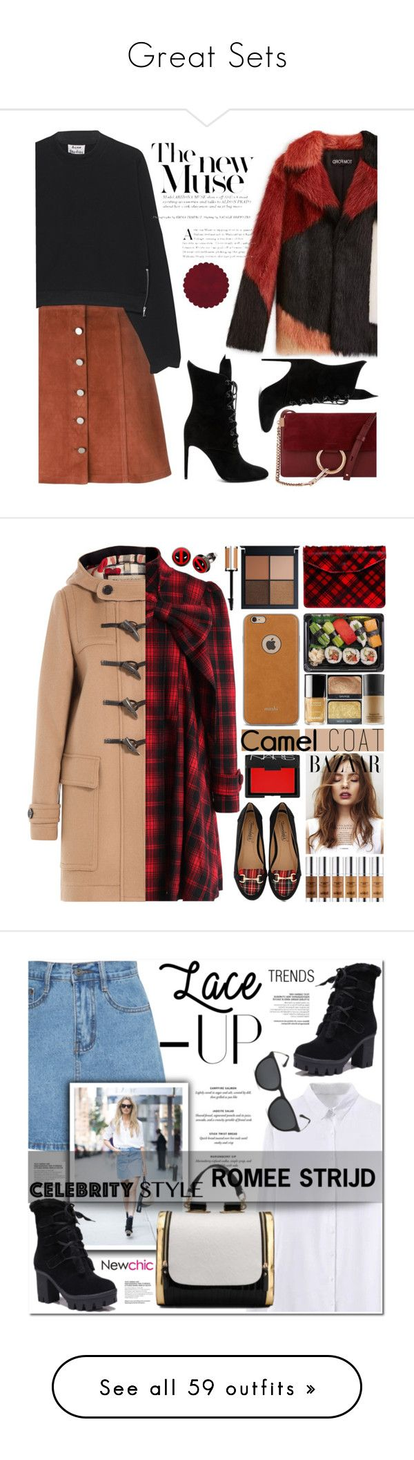 """""""Great Sets"""" by beautymanifesting ❤ liked on Polyvore featuring Theory, Acne Studios, Chloé, Kendall + Kylie, Chicwish, Timeless, Moshi, Burberry, Jas M.B. and NARS Cosmetics"""