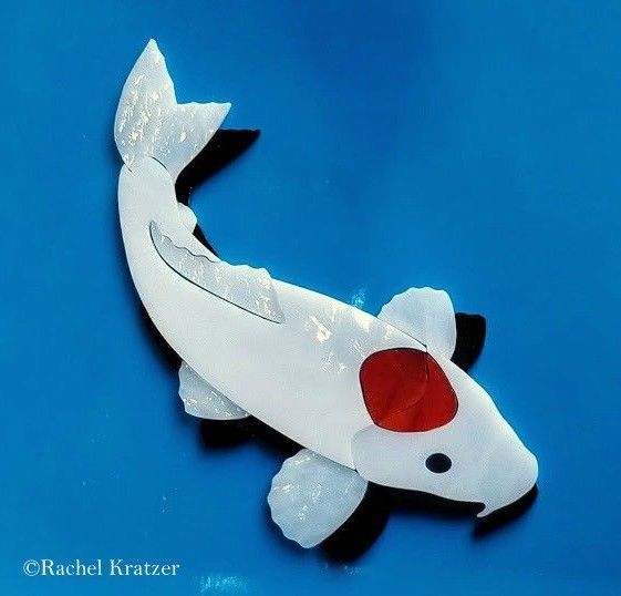 Ready to be used in your mosaic TANCHO KOI FISH w/ SHADOW Precut Stained Glass Art Mosaic Inlay Kit Pond Stone #RachelKratzer