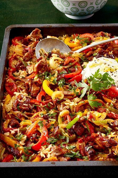 """""""A plate for all"""" -Oven-rice meat   – Fleisch"""